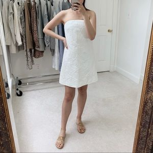 J. Crew | Strapless Embossed Floral Dress in White